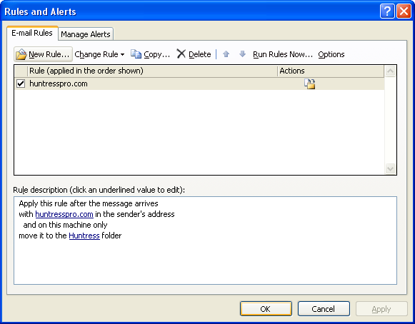how to create rules in outlook 2007