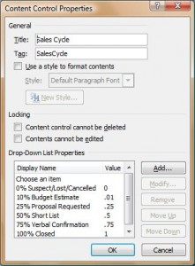 Figure 5 Content Control Properties Window